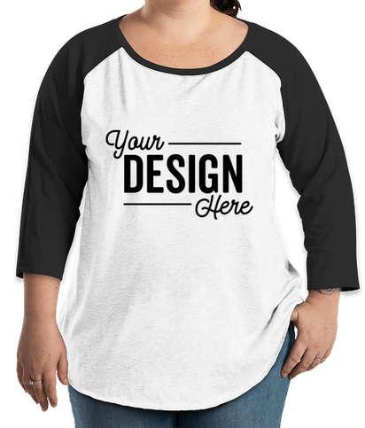 LAT Women's Curvy Raglan T-shirt - White / Black