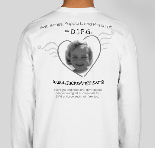 "Enough of the ""rare"" label for DIPG and other childhood cancers! Fundraiser - unisex shirt design - back"