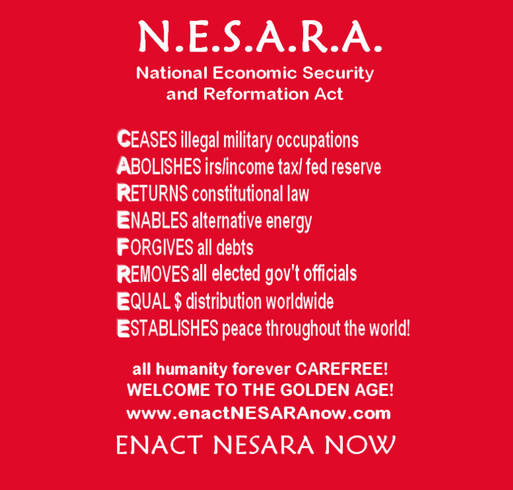 Enact NESARA Now Apparel shirt design - zoomed