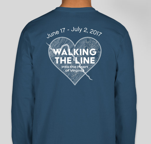 Walking the Line into the Heart of Virginia ... June 17 to July 2, 2017 Fundraiser - unisex shirt design - back