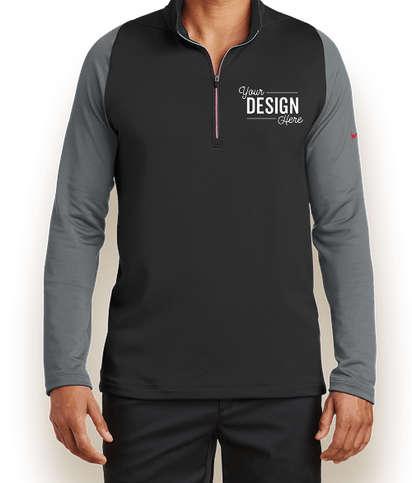 Nike Dri-FIT Stretch Quarter Zip Pullover - Black / Dark Grey / Gym Red