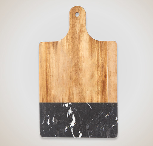Laser Engraved Black Marble and Wood Cutting Board - Selected Color