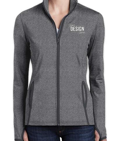 Sport-Tek Women's Sport-Wick Stretch Full Zip Jacket - Charcoal Grey Heather / Charcoal Grey