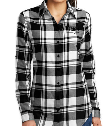 Port Authority Women's Plaid Flannel Shirt - Snow White / Black
