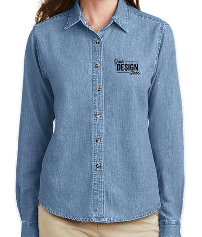 Port & Company Women's Denim Shirt - Faded Blue