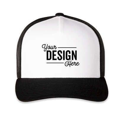Pacific Headwear Five-Panel Snapback Trucker Hat - Black / White / Black