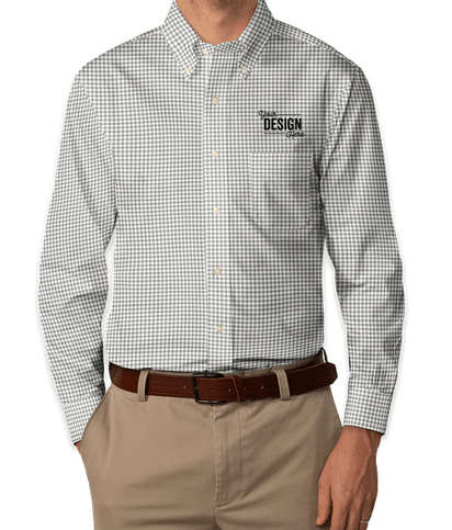 Brooks Brothers Non-Iron Gingham Button Down Dress Shirt - Grey / White (Gry Wht)