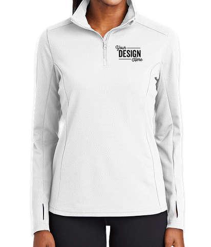 Sport-Tek Women's Sport-Wick Quarter Zip Performance Pullover - White
