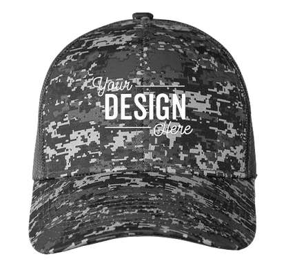 Port Authority Digital Camo Snapback Trucker Hat - Black Digi / Black