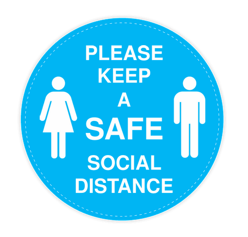 "Social Distance 12"" Circle Floor Decal - Columbia Blue / White"