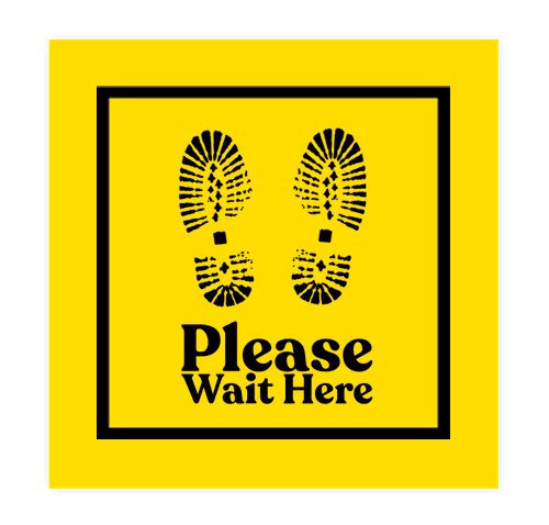 """Wait Here 12"""" Square Floor Decal - Yellow / Black"""