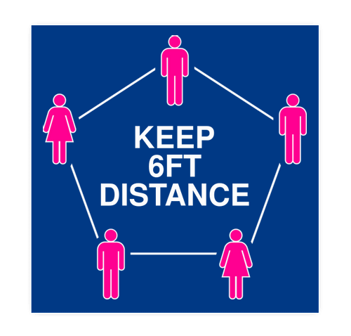 "6 Feet Distance 12"" Square Floor Decal - Royal / White"