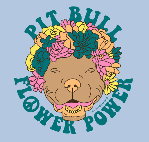 Rescue Road Trip / Pit Bull Flower Power shirt design - zoomed