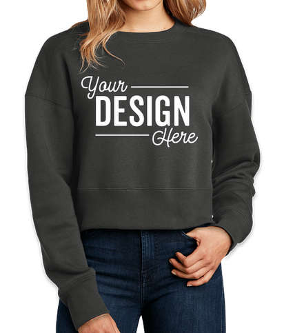 District Women's Perfect Weight Cropped Crewneck Sweatshirt - Charcoal