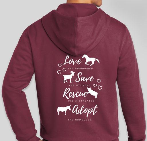 Love, Save, Rescue, Adopt Jacket Fundraiser - unisex shirt design - back