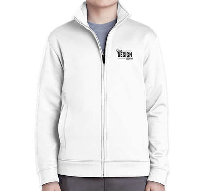 Sport-Tek Youth Sport-Wick Tech Fleece Full Zip Jacket - White