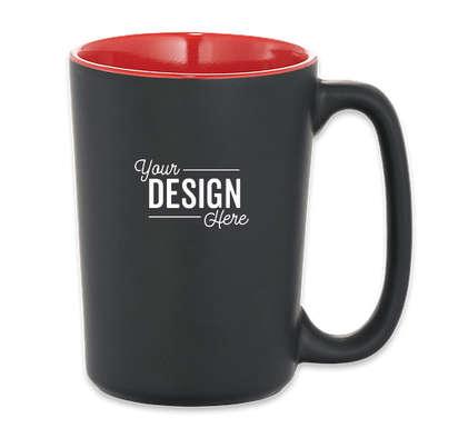 13 oz. Elon Ceramic Mug - Black w/ Red Trim