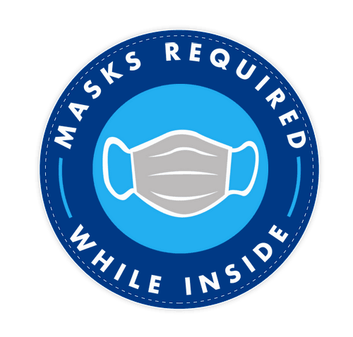 """Face Masks Required 12"""" Circle Floor Decal - Royal Blue"""