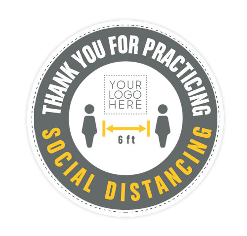 "Thank You For Social Distancing 12"" Circle Floor Decal - White"