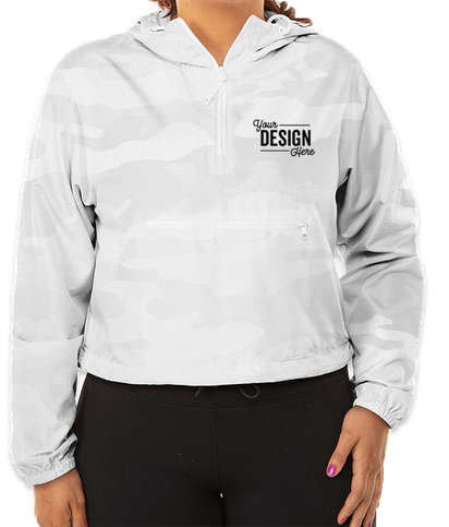 Independent Trading Women's Quarter Zip Cropped Windbreaker - White Camo
