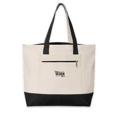 Embroidered Medium Front Zipper Cotton Boat Tote Bag - Natural / Black