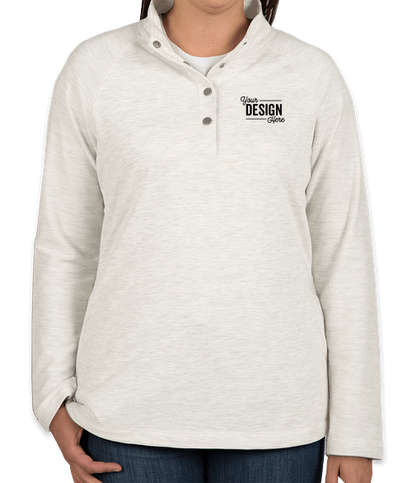 Charles River Women's Falmouth Snap Button Pullover - Ivory Heather