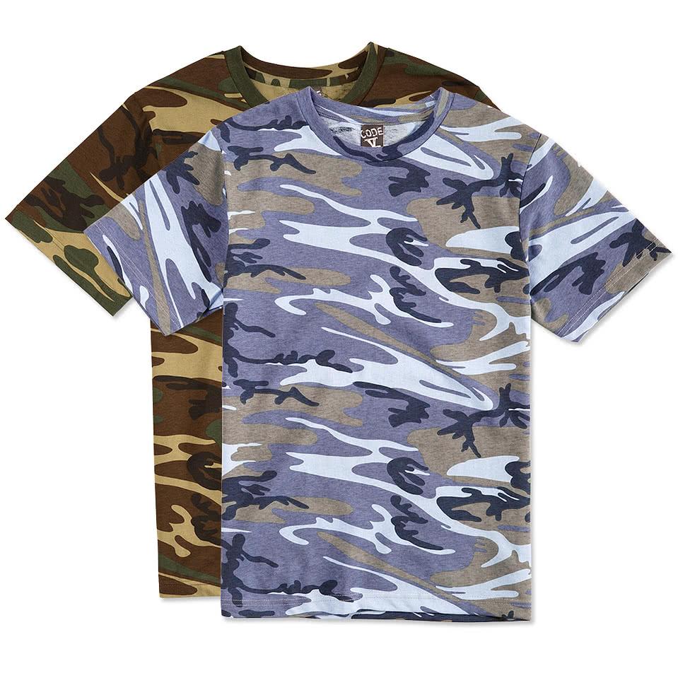 Custom code 5 camo t shirt design short sleeve t shirts for Made t shirts online