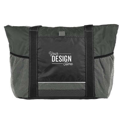 Colorblock Zippered Insulated Cooler Tote Bag - Black / Charcoal