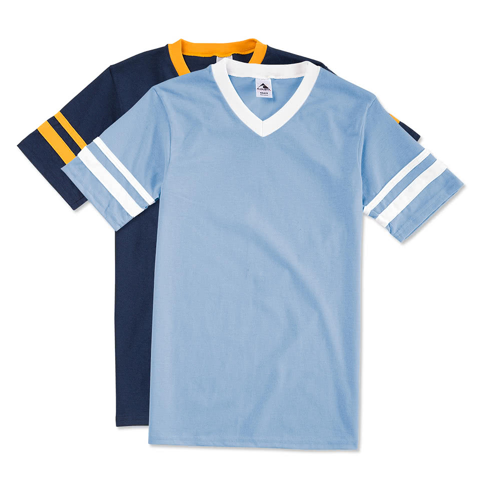 Custom augusta double sleeve stripe jersey t shirt for T shirts online custom