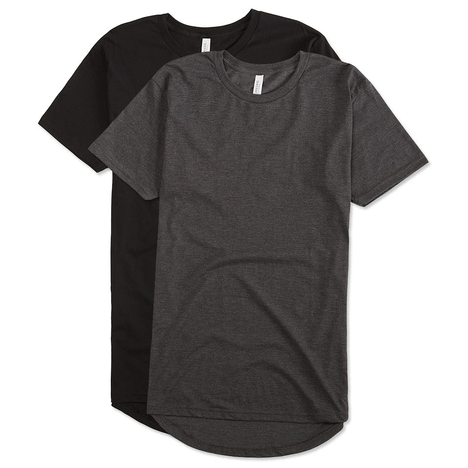 Design custom printed canvas urban longer length t shirts for Made t shirts online