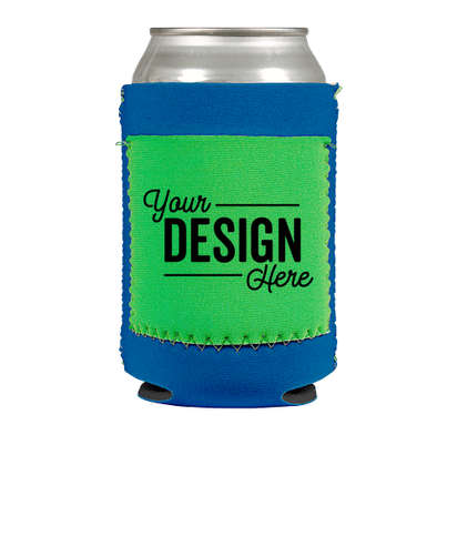 Full Color Neoprene Can Cooler with Pocket - Royal Blue / Lime / Neon Green