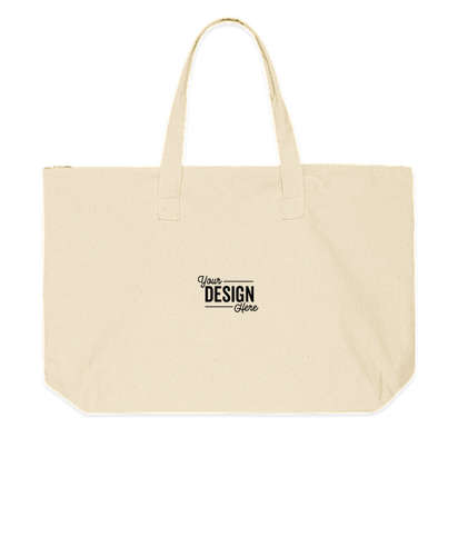 Embroidered Large Wide 100% Cotton Canvas Zippered Tote Bag - Natural