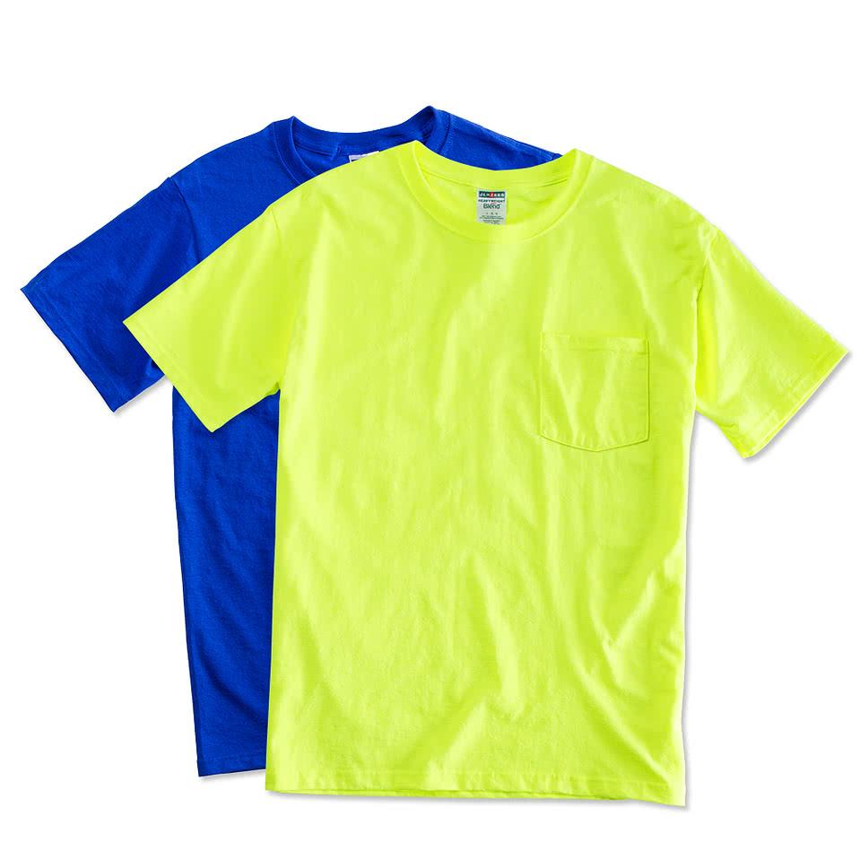 Custom jerzees 50 50 pocket t shirt design short sleeve for Create your t shirt online