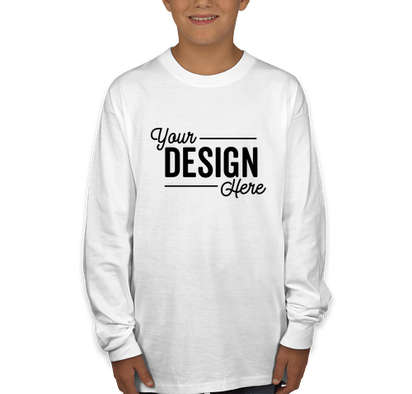 Hanes Youth Authentic Long Sleeve T-shirt - White