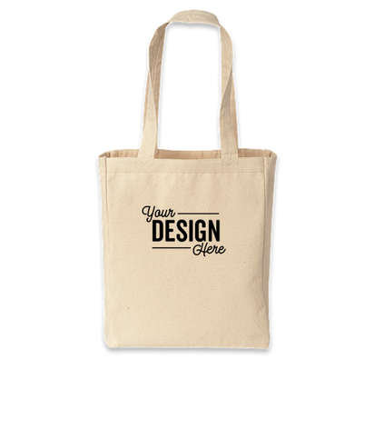 Medium Gusseted Midweight 100% Cotton Canvas Tote Bag - Natural
