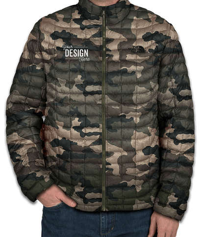 The North Face Camo ThermoBall Trekker Jacket - Burnt Olive Green Woodchip Paint