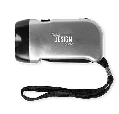 Hand-Powered Flashlight - Silver w/ Black Trim