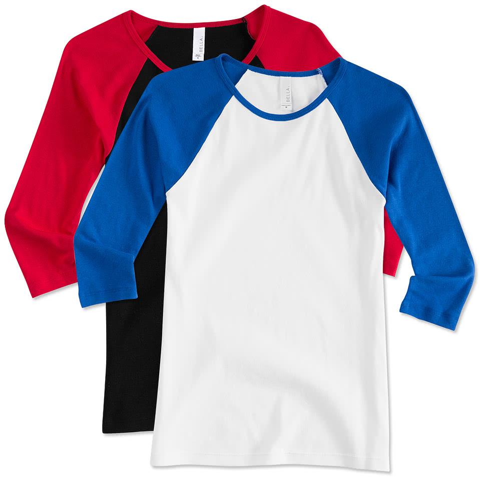 Design custom printed bella girly raglan crew neck t for Made t shirts online