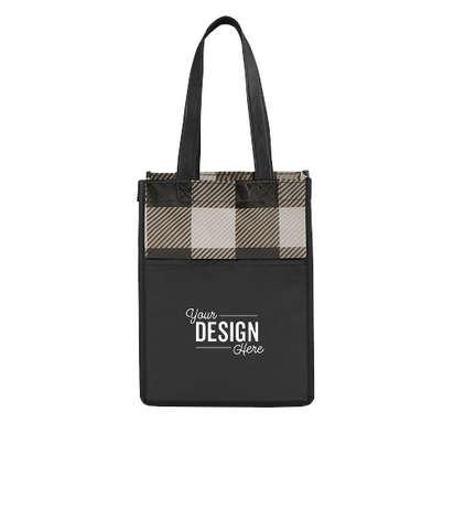 Mini Buffalo Plaid Non-Woven Gift Tote Bag - Grey / Black
