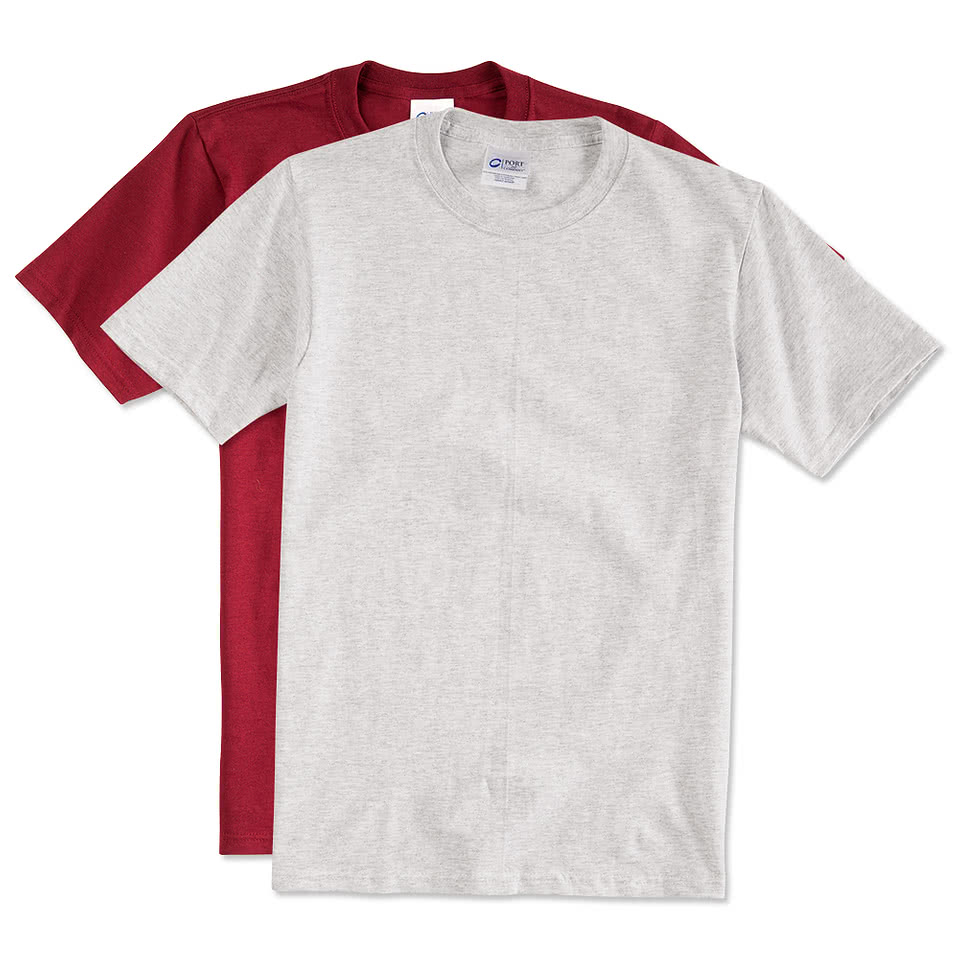 Design custom printed port and company cotton t shirts for T shirt printers online