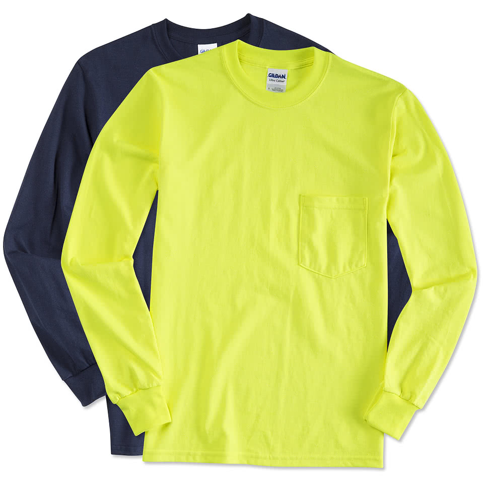 Custom canada gildan ultra cotton long sleeve pocket t for Made t shirts online