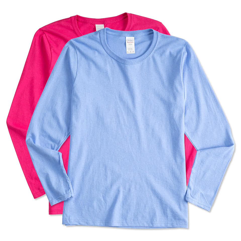 Design your own t-shirt miami - Gildan Ladies 100 Cotton Long Sleeve T Shirt