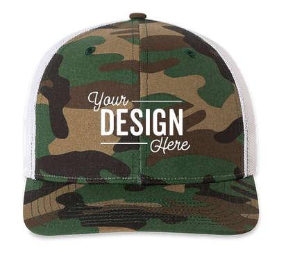 Richardson Patterned Snapback Trucker Hat - Army Camo / White
