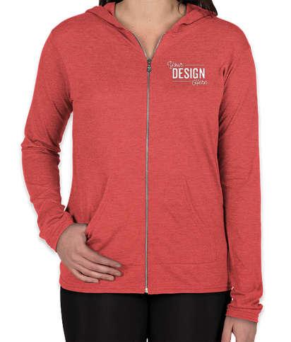 Anvil Women's Tri-Blend Full Zip T-shirt Hoodie - Heather Red