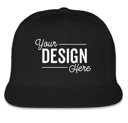 Yupoong Flat Bill Snapback Hat - Black