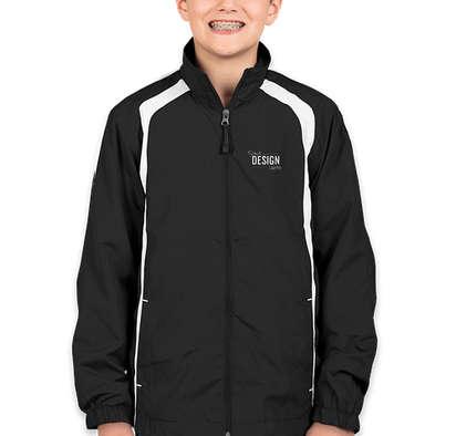 Sport-Tek Youth Full Zip Colorblock Warm-Up Jacket - Black / White