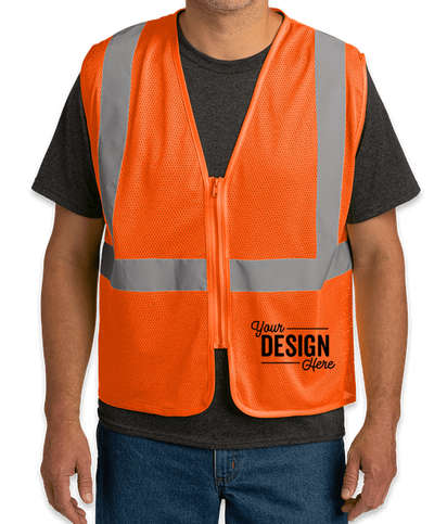 CornerStone Class 2 Economy Zippered Mesh Safety Vest - Safety Orange