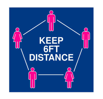 """6 Feet Distance 12"""" Square Floor Decal - Royal / White"""