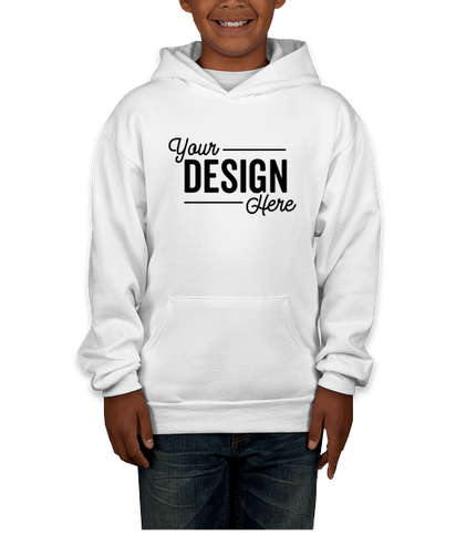Hanes Youth EcoSmart 50/50 Pullover Hoodie - White