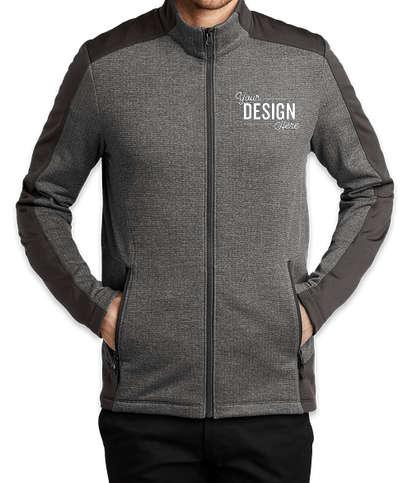 Port Authority Full Zip Grid Tech Fleece Jacket - Grey Smoke Heather/ Grey Smoke